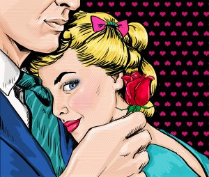 Pop Art couple. Love couple. Pop Art love. Valentines day postcard. Hollywood movie scene. Real love. First kiss. Movie poster. Comic book love. Rose flower. Woman and man. I love you. Miss you. Lover